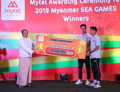 Mytel မှ ၂၀၁၉ ခုနှစ် ဆီးဂိမ်းပြိုင်ပွဲတွင် ဆုရရှိသူ မြန်မာ့အားကစားသမားများကို ဆုချီးမြင့်ပြီး မြန်မာ့အားကစားကဏ္ဍကို ပံ့ပိုးကူညီ