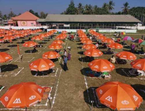 ပူပြင်းသည့်ရာသီဥတုဒဏ်ကို ကာကွယ်ပေးရန်နှင့် နိုင်ငံတစ်ဝှမ်း Social Distancing အလေ့အကျင့်ကောင်းများကို ကျင့်သုံးနိုင်ရန် Mytel မှ ထီးများဖြင့် အားပေးကူညီပေးလျက်ရှိ