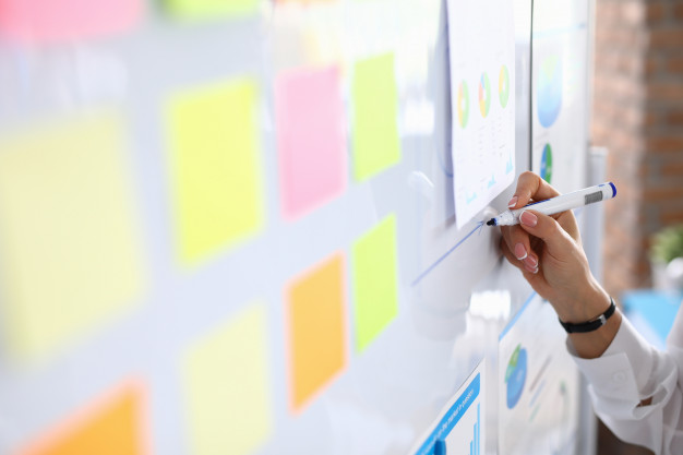 Woman draws graphics on white board and holds presentation