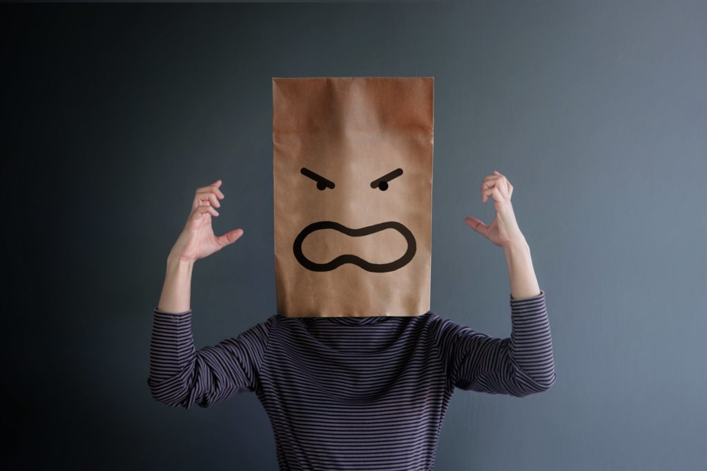 woman present angry feeling