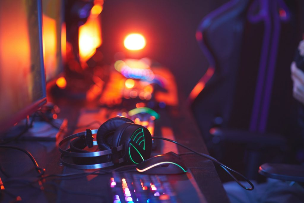 pro-gaming equipment on computer desk