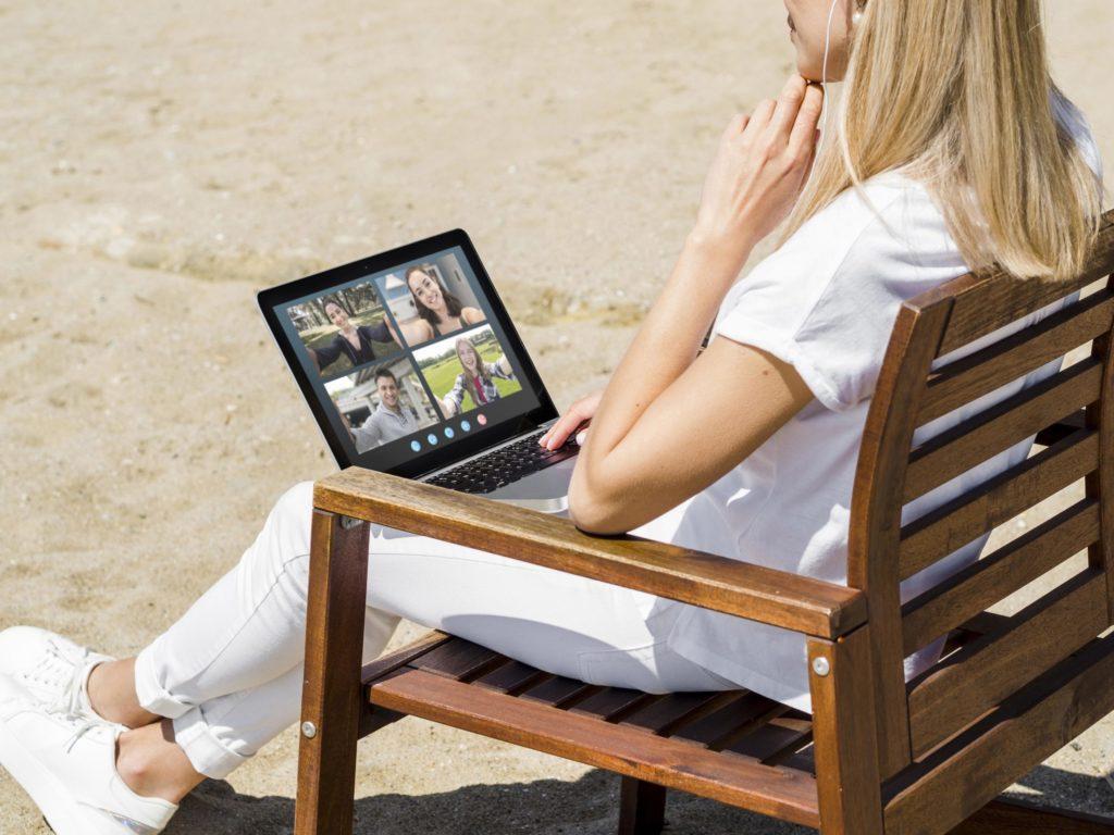 woman having a video call outside
