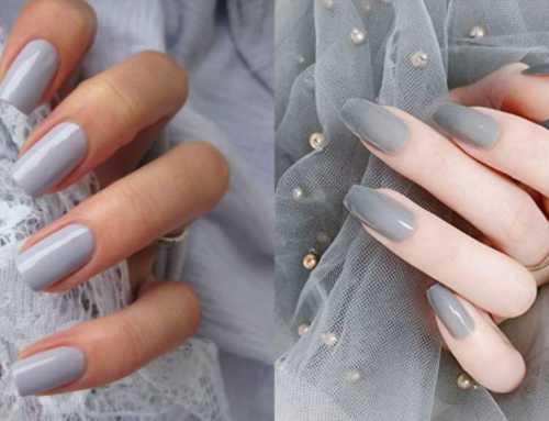 အသားဖြူတဲ့ ပျိုမေလေးတို့အတွက် Grey Color လက်သည်းနီ ဒီဇိုင်းလှလှလေးတွေ